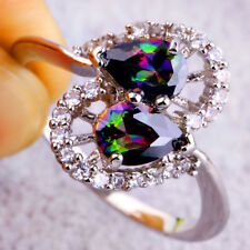 Pear Cut Rainbow & White Topaz Gemstone Silver Wedding Ring Size 12 Cocktail