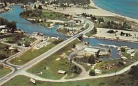 Oscoda MI 1963 Aerial View BOAT BASIN on the AU SABLE RIVER Postcard A13