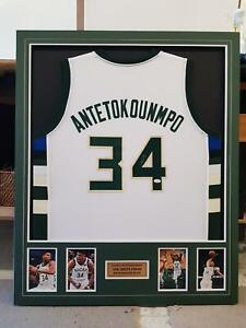Giannis Antetokounmpo Hand Signed Milwaukee Framed Jersey - Autographed JSA (1)