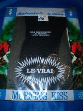 VINTAGE Mesh Nylonstrümpfe Gr. 2 (9) schwarz 20 den Nylons Perlons BAS OVP