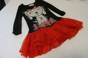 Girl's Beautees 3/4 Sleeve  red/bl Sequins Dress With Tulle Ruffle Skirt- sz. S