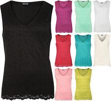 Womens Plus Floral Flower Crochet Lace Lined Sleeveless V-Neck Vest Ladies Top