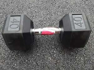 New Weider 40 lb Rubber Coated Steel Hex Dumbbell Barbell Free Weights Home Gym