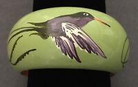 JAMAICA HUMMINGBIRD GREEN BANGLE BRACELET Caribbean Island Jewelry Bird wood?