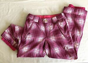 Girls Burton Snow Pants L Snowboard Ski Pink Plaid Insulated Size Large 12/14