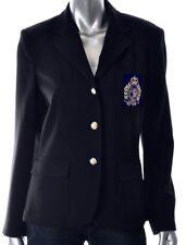 New Polo Ralph Lauren Womens Navy Blue Crest Wool Blazer Jacket L Large 12
