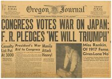 Japanese Attack on Pearl Harbour Congress Votes War on Japan December 8 1941 B21