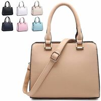 Ladies Plain Faux Leather Handbag Cute Box Shoulder Bag Bowler Grab Bag A34681