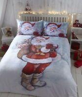 Super Soft Father Christmas Santa Flannelette Double Christmas Bedding Duvet Set