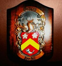 Duncan Family Copper & Metal  Shield on Wood Plaque, By Heraldic Artists