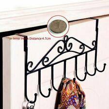 Black Over The Door 7 Hanger Hook Holder Clothes Coat  Metal Hooks Rack Decor