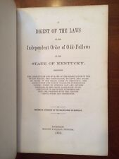 RARE 1862 KENTUCKY Independent Order of Odd-Fellows, Laws Ceremonies Grand Lodge