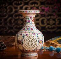 Hollow Ceramic Vase Vintage Porcelain Chinese Flowers Antique Reproduction