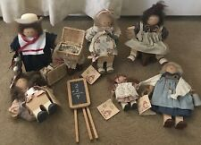 Lot Of 6 Lizzie High Vintage wooden Dolls - Handcrafted Early 1990's