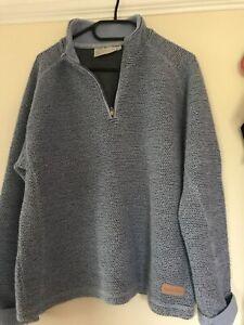 Weird Fish Macaroni blue grey 1/4 zip sweatshirt size large