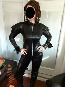 Katniss Everdeen Chariot costume cosplay pleather catsuit w/wig Hunger Games!