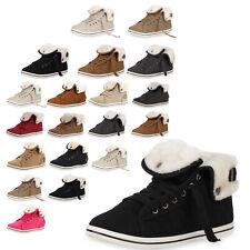 Warm Gefütterte Damen Sneakers Low Schnallen Zierknöpfe Schuhe 79440 Top