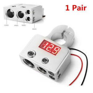 Car Positive Negative Digital Battery Terminal Connectors w/12V-24V Voltmeter