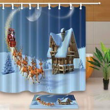 Xmas Decor Santa With Reindeers Wooden Snowy House Fabric Shower Curtain Set