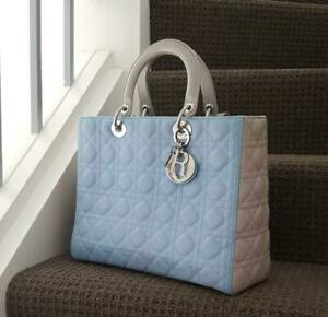 CHRISTIAN DIOR Lady Bag Dual Large Bi Colour Sky Blue Light Silver Grey $8000