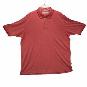 TOMMY BAHAMA Men's Short Sleeve Polo Shirt Size L Large Salmon Pink Marlin Logo