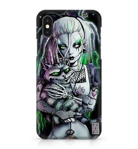 Spooky Witch Evil Green Eyed Cheeky Cat Purple Hat Mysterious Phone Case Cover