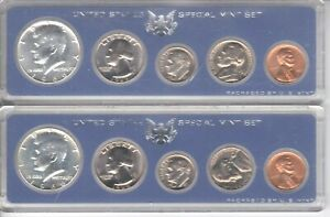 2 - 1966 US UNCIRCULATED SPECIAL MINT SET with 40 % SILVER KENNEDY HALF