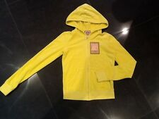 NWT Juicy Couture New & Genuine Ladies Size Small Yellow Velour Hoody & Logo