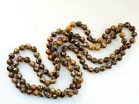 "Vintage 48"" Natural Stones Agate Beaded Necklace"