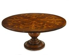"""72"""" RD dining table solid wood hand turned base Italian classic painted designs"""