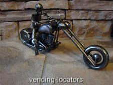 Brushed Nickel CHOPPER MOTORCYCLE Rider Sculpture Fabricated Harley Indian New