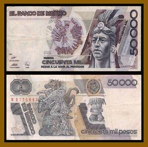 Mexico 50000 (50,000) Pesos, 1989 P-93b Cuauhtemoc Pinholes Circulated (Cir)