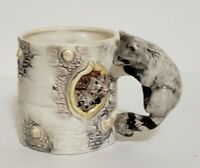 1993 Vintage Bergschrund Raccoon Family Branch Mug Cup Hand Painted Tree