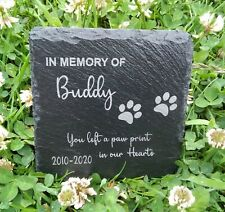 Memorial Plaque For Pet Cat Dog Slate Stone Paw Grave Marker Personalised  Gift