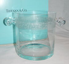 TIFFANY & CO  VINTAGE CRYSTAL GLASS ICE BUCKET WITH SNAIL STYLE HANDLES W/BOX