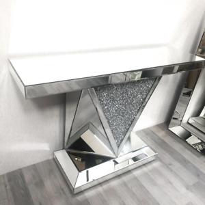 XXL Luxury Mirrored Crushed Diamond Console Table Hallway Living Room Designer