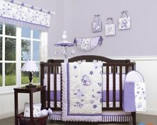 Purple Floral Butterfly 13 pcs Crib Bedding Set Baby Nursery Quilt Diaper Bumper