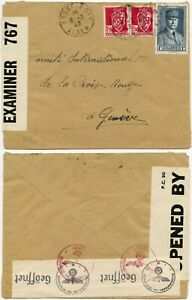 WW2 ALGERIA HUSSEIN DEY GB+ 3rd REICH CENSORED 1943 RED CROSS GENEVA .Ex DRUCKER