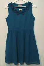 AWEAR Tea Dress UK 10 Blue Sleeveless Flower Detail Neck Wedding Guest Occasion