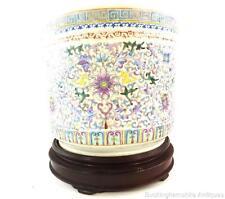 Chinois famille rose porcelaine pot planteur hardswood stand lotus République LOTUS