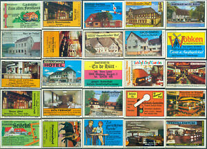 25 alte Gasthaus-Streichholzetiketten aus Deutschland #979