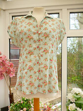 GORGEOUS *JOE BROWNS* DUCK EGG BLUE POLKA DOT & PINK ROSES PRINT TOP BLOUSE 14