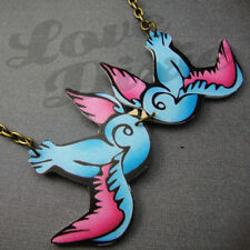 KISSING RONDINI TATTOO COLLANA BLU ROSA ROCKABILLY KITSCH EMO fai da te