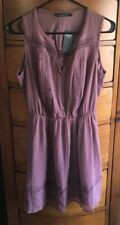 NEW Abercrombie & Fitch LACE PIECED PATTERN DRESS Mauve Small New season NWT