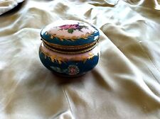 Vintage Limoges Hinged Dressing Table Trinket Box in Turquoise w Ctr Rose