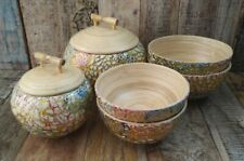 More details for spun bamboo two lidded pots and four bowls hand painted eggshell fair trade