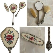 🌟Regent Of London 1940s Metal & Embroidery Dressing Table Vanity Brush Set Gift