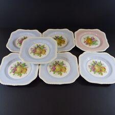 Set 7 Johnson Bros Salad Plates England Square Fruit Old English 6 Blue 1 Pink