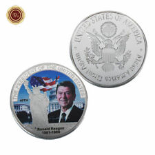 WR 1981-89 Ronald Reagan Signed Silver Coin Medal 40th US President Souvenirs