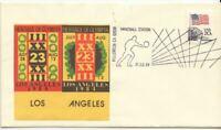 Art Cachet Carol Gordon 1984 Los Angeles Olympics Handball Station Fancy Cancel